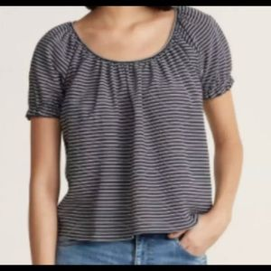 Madewell Texture& Thread Peasant Top Blk&White